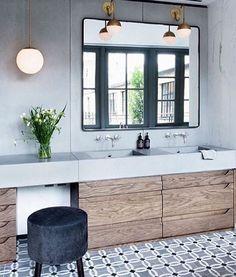 Tiles, wood vanity & mirror