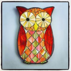 """Owl Stained Glass Pattern   Foxy Owl, stained glass mosaic owl, 17""""x10"""", 2015 ~SOLD"""