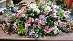 Pastel with a touch of blue. Casket Flowers, Casket Sprays, Memorial Flowers, Sympathy Flowers, How To Memorize Things, Floral Wreath, Pastel, Wreaths, Touch