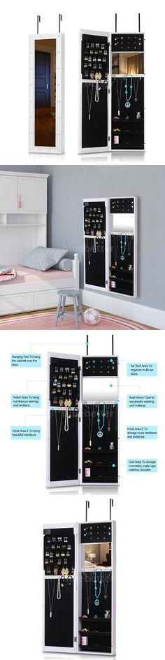 Jewelry Boxes 3820: Led Door Wall Mount Mirrored Jewelry Armoire Cabinet Organizer Box White X2q6 -> BUY IT NOW ONLY: $67.8 on eBay!