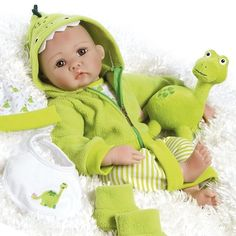"Cute 18"" Reborn Baby Dolls My Little Dino & Rex Girl Toys Green Gifts For Her #ParadiseGalleries #DollswithClothingAccessories"