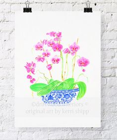 Pink Orchids in Vintage Blue and White China 11x14 - Blue and White Chinoiserie Print - Pink Floral Watercolor Print via Etsy