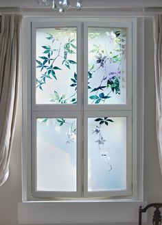 Etched glass shutters for bedroom