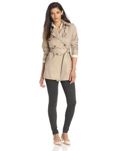 Tommy Hilfiger Women's Water Resistant Double Breasted Trenchcoat ...