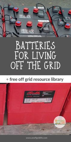Learn about batteries for living off the grid including battery bank basics and a real-world example of how our off grid battery bank system is configured. An Off Grid Life. Off Grid Survival, Survival Prepping, Survival Skills, Emergency Preparedness, Survival Gear, Survival School, Survival Essentials, Emergency Preparation, Survival Supplies