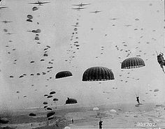 Paratroopers drop from their C-47 transports during Operation Market Garden
