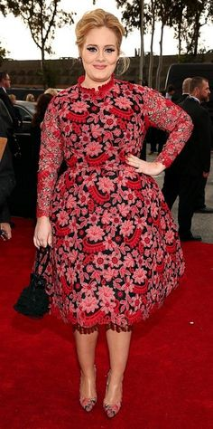 Adele - The 55th Annual GRAMMY Awards - Red Carpet Dresses 2013, Nice Dresses, Grammys 2013, Adele Grammys, Look Star, Valentino Couture, Valentino Dress, Mode Plus, Red Cocktail Dress