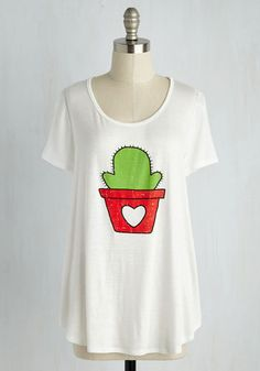 Cactus Makes Perfect Tee - White, Solid, Casual, Quirky, Short Sleeves, Knit, Good, Exclusives, Scoop, Mid-length, Jersey