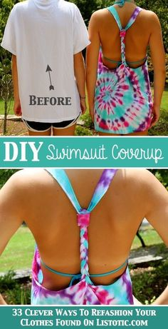 33 Clever Ways To Refashion Clothes (With Tutorials) is part of Diy swimsuit - Clever ways to refashion clothes Some don't even require a needle or thread; just a few creative folds, knots, and cuts Look Fashion, Diy Fashion, How To Tie Dye, How To Make, Diy Kleidung, Diy Vetement, Do It Yourself Fashion, Diy Shirt, Diy Tie Dye Shirts