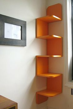 handy corner storage via William Feeney Studio