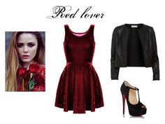 """Red&Black"" by jamakova ❤ liked on Polyvore featuring Maglie I Blues, Christian Louboutin, women's clothing, women's fashion, women, female, woman, misses, juniors and topset"