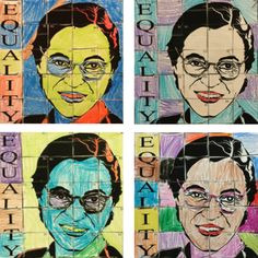 Rosa Park Pop Art easy and fun activity for kids. Free on Art with Jenny K's blog. Great for classroom teachers and art teachers alike. Kindergarten, first grade and second grade students will benefit from the fine motor skill practice and grid cordinate practice.