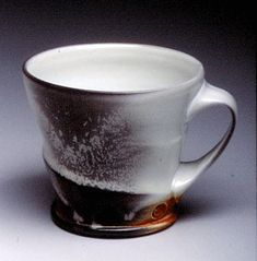 Wheel-thrown, Soda Fired Porcelain Mug by Matt Long