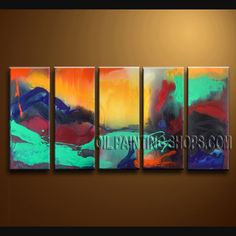 Enchanting Modern Abstract Painting Oil Painting On Canvas For Bed Room Abstract. This 5 panels canvas wall art is hand painted by Bo Yi Art Studio, instock - $156. To see more, visit OilPaintingShops.com