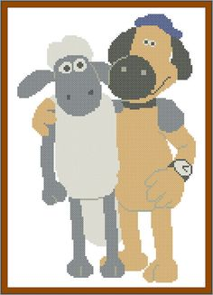 #254 BOGO FREE!-Shaun the Sheep and Bitzer cross stitch pdf Pattern - pdf pattern instant download For your consideration is a beautiful counted cross stitch pattern/chart as shown in the picture. Pattern Details: This pattern is in PDF format and consists of a floss list, and a