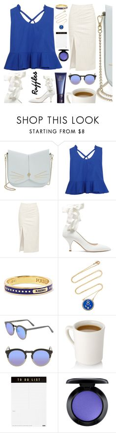 """Ruffle Top"" by sharmarie ❤ liked on Polyvore featuring Ted Baker, Delpozo, Walk of Shame, Miu Miu, Foundrae, Illesteva, kikki.K, MAC Cosmetics, Space NK and ruffledtops"