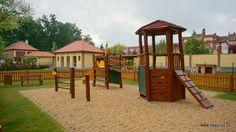 Dětské hřiště na Louce u Zlaté stoky je možno využít při pořádání dětských oslav v areálu.