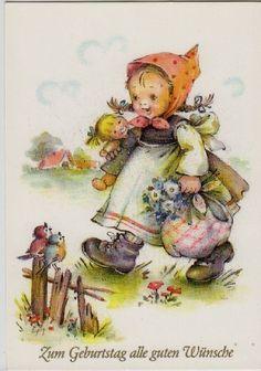 AK.:    Mädchen mit Puppe im Arm