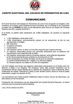 ASOCIACIÓN DE PERIODISTAS POLICIALES: COMUNICADOS DEL COMITÉ ELECTORAL DEL CPL