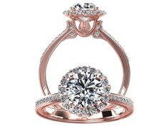 Victorian inspired 14k Rose gold Diamond Ring Engagement Ring 1.25 ct VVS White Sapphire W20WS14R on Etsy, $1,578.77 CAD