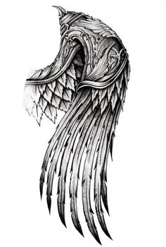 ornate wing by AYEUHONE – # - tattoo sleeve ideas Hand Tattoos, Schulterpanzer Tattoo, Alas Tattoo, Norse Tattoo, Eagle Tattoos, Viking Tattoos, Body Art Tattoos, Tribal Tattoos, Feather Tattoos
