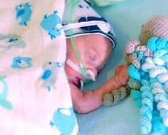 """did-you-kno: """"People are helping premature babies by crocheting tiny octopuses. The tentacles are thought to mimic the feel of an umbilical cord, and babies who cuddle an octo are less likely to pull..."""