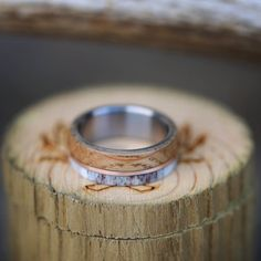Wood, Gold, and Antler Wedding Ring. Handcrafted by Staghead Designs.