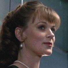 Miss Moneypenny (Samantha Bond) Xenia Onatopp, Samantha Bond, Pierce Brosnan, Roger Moore, British Actresses, Brown Hair Colors, James Bond, Eye Color, Romantic