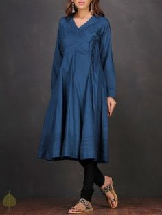 Blue Pintuck Angrakha Cotton Mul Kurta by Jaypore