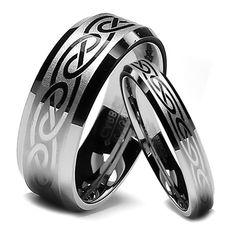 Celtic Knot Wedding Band Sets | His and Hers Brushed Celtic Knot Inlay Matching Wedding Band Set ...