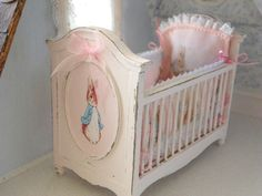 dollhouse miniature crib with Peter Rabbit design