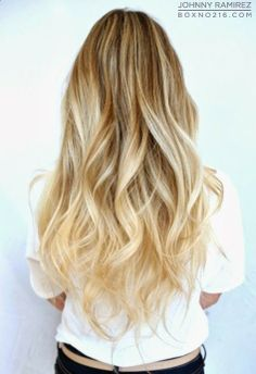 long soft waves, blonde, ombre
