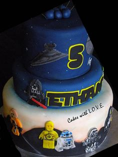 star wars lego cake - dark blue and lettering Star Wars Birthday Cake, Lego Birthday Party, Star Wars Party, Birthday Stuff, Birthday Cakes, Birthday Ideas, Fancy Cakes, Cute Cakes, Star Wars Cake Toppers