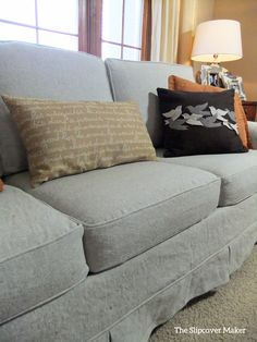French Country linen slipcover custom made with Home Furnishing Linen in color Oatmeal from Gray Line Linen.