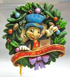 jiminy cricket merry christmas wreath ornament jim shore from our jim shore disney traditions collection