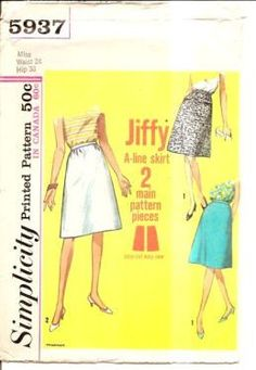 Simplicity 5937 Vintage Sewing Pattern 1960's Misses Jiffy Skirt #1960s #ladies #simplicity #skirt #vintage #patterns #sewing #retro #vintagestitching