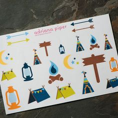 Boys Camping Collection Stickers  26 ct for Erin Condren Life Planner, Plum Paper Planner, Filofax, Kikki K, Calendar or Scrapbook by adrianapiper on Etsy