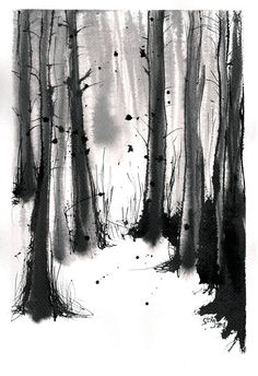 Forest painting on PAPER black and white watercolor landscape- 8 215 11 Forest painting on PAPER black and white watercolor landscape- 8 215 11 Begonia B 038 W ART nbsp hellip Painting black and white Landscape Sketch, Landscape Drawings, Fantasy Landscape, Watercolor Landscape, Watercolor And Ink, Landscape Paintings, Forest Landscape, Landscape Pictures, Landscape Art