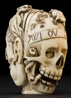 This ivory model of a skull and a human head comes from France and is thought to be memento mori – literally a reminder of death and the shortness of life. From the 1500s onwards the skull was a symbol of death
