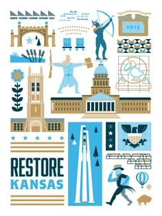 Image of Restore Kansas print from Fine Print PAC. All of proceeds go to candidates who build a better Kansas.