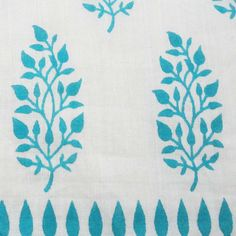 Indian Fabric - Cotton Fabric - Blue and White Indian Cotton Fabric Block Print - Paisley and Floral