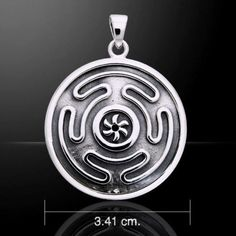 Wheel of HECATE Pendant .925 Sterling Silver DARK MOON Goddess HEKATE Amulet Pendant