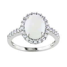10k White Gold Opal and Lab-Created White Sapphire Oval Frame Ring, Women's, Size: 7