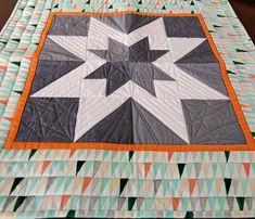 Modern Gray and White Star Table Topper / Wall Hanging- Quilted Table Decor-Quilted Wall Hanging-Gray White Green Orange - Quiltsy Handmade