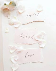 Blushing letters . . . . . . . . . #calligraphy #caligrafieromania #ink #pink #flowers #petals #pretty #soft #love #sweet #blush #paper #letters #handwritten Paper Letters, Pink Flowers, Blush, Calligraphy, Sweet, Pretty, Candy, Rouge, Brushes