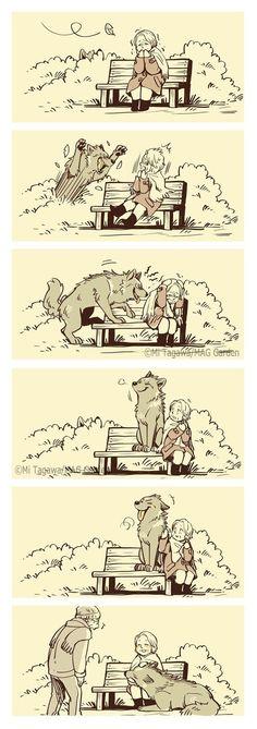 Cute Animal Drawings, Cute Drawings, Cute Funny Animals, Cute Baby Animals, Wolf Comics, Funny Comic Strips, Furry Comic, Cute Stories, Short Comics