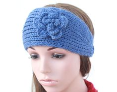 Hand- Blue  knitted Headband, Ear Warmer, Button, Embellished Flower, Fall Hair Band, Knit Fashion Accessory,  7009