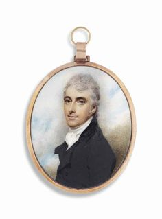 An early Regency miniature portrait, painted on ivory and mounted as a pendant. By WILLIAM WOOD (BRITISH, 1769-1810)  Signed on the backing card 'By / Will: Wood, / of / Cork Street, / Lond.' On ivory