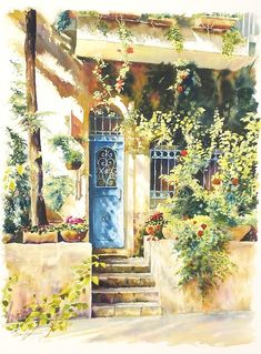 The blue door by Beni Gassenbauer. Artwork Type: Painting; Medium: watercolor;