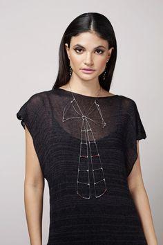 Striking geometric, hand-fabricated jewelry from Meghan Patrice Riley. V Neck, Jewelry, Tops, Women, Fashion, Moda, Jewels, Fashion Styles, Schmuck